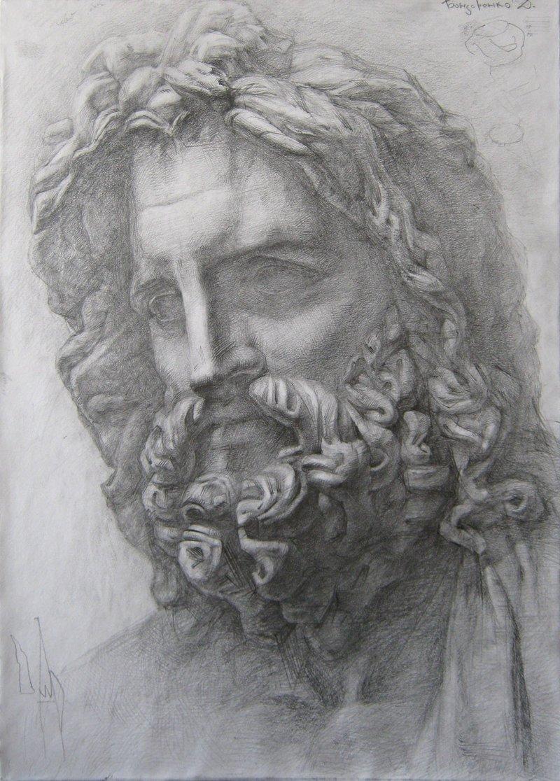 Tanrıların Kralı Zeus'u tasvir eden bir kara kalem çalışması.
