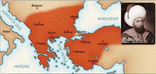 2. Murat Dönemi Haritası