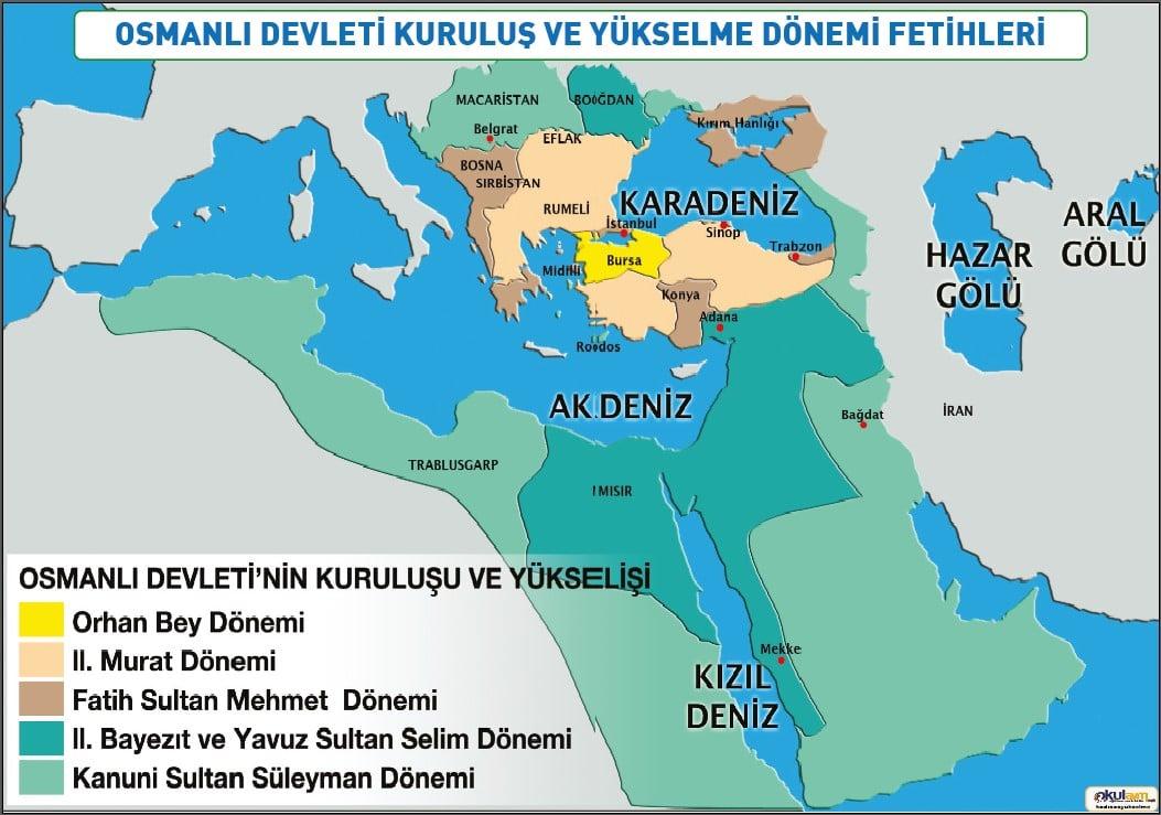 Osmanlı Devleti Kuruluş ve Yükselme Dönemi Fetihleri