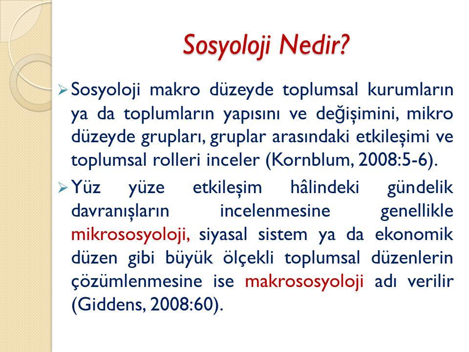 Sosyoloji nedir
