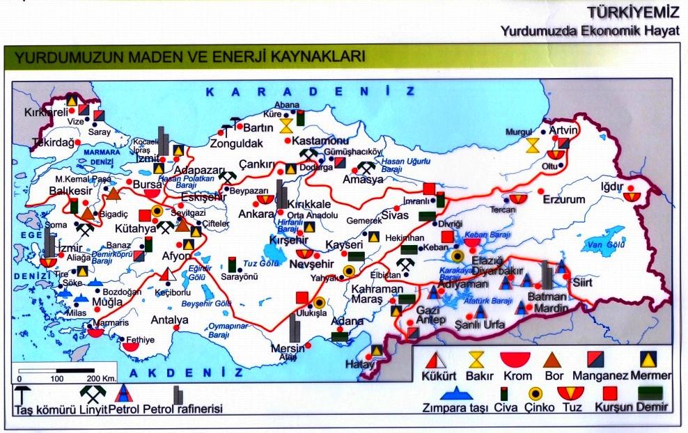 Türkiye maden ve enerji kaynakları haritası