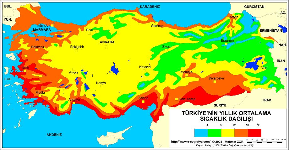 Türkiye yıllık ortalama sıcaklık dağılışı haritası