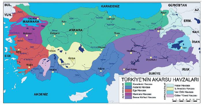 Türkiye Akarsu Havzaları Haritası