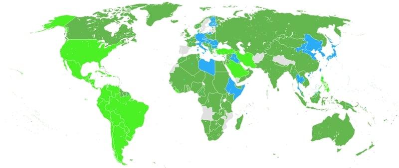 Mihver Devletleri mavi ile işaretlenmiş devletlerdir.