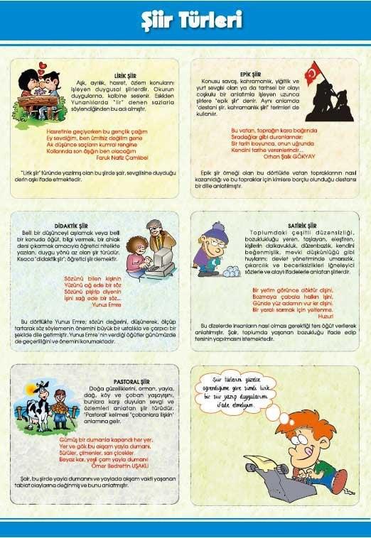 Şiir türleri ve özellikleri şeması