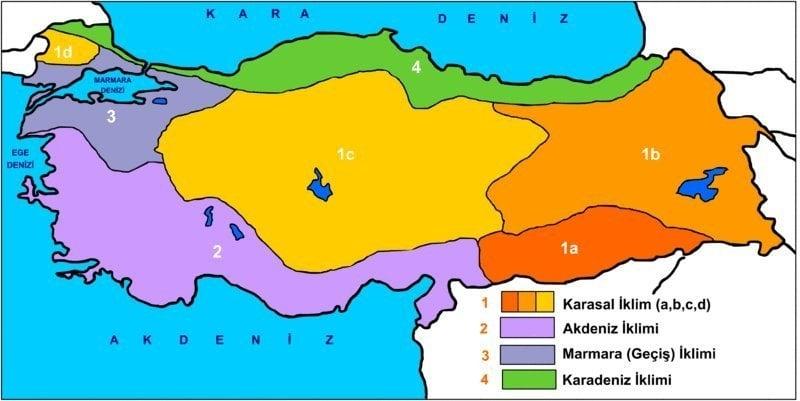 Türkiyede Görülen İklim Tipleri Haritası