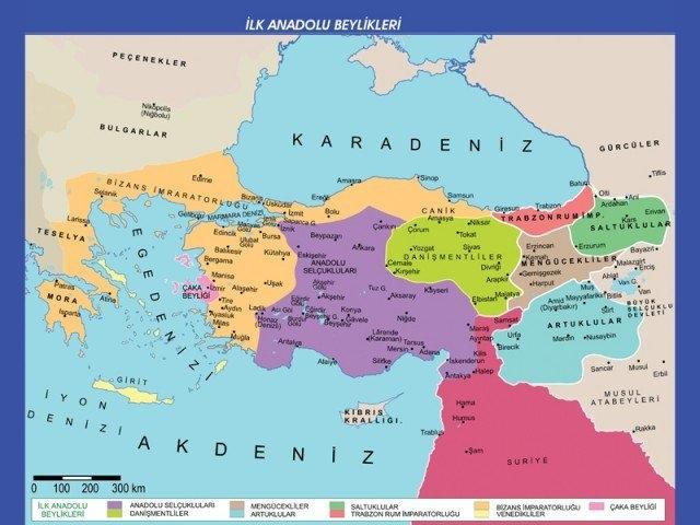Anadoluda Kurulan İlk Türk Beylikleri Haritası