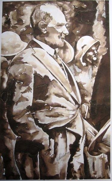 Lavi Tekniğiyle Yapılmış Atatürk Resmi