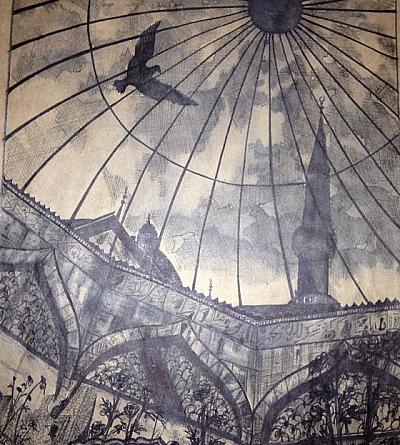 Ressam Sündüz Ceyhan Yılmaz'ın lavi tekniğiyle yapmış olduğu bir resim.