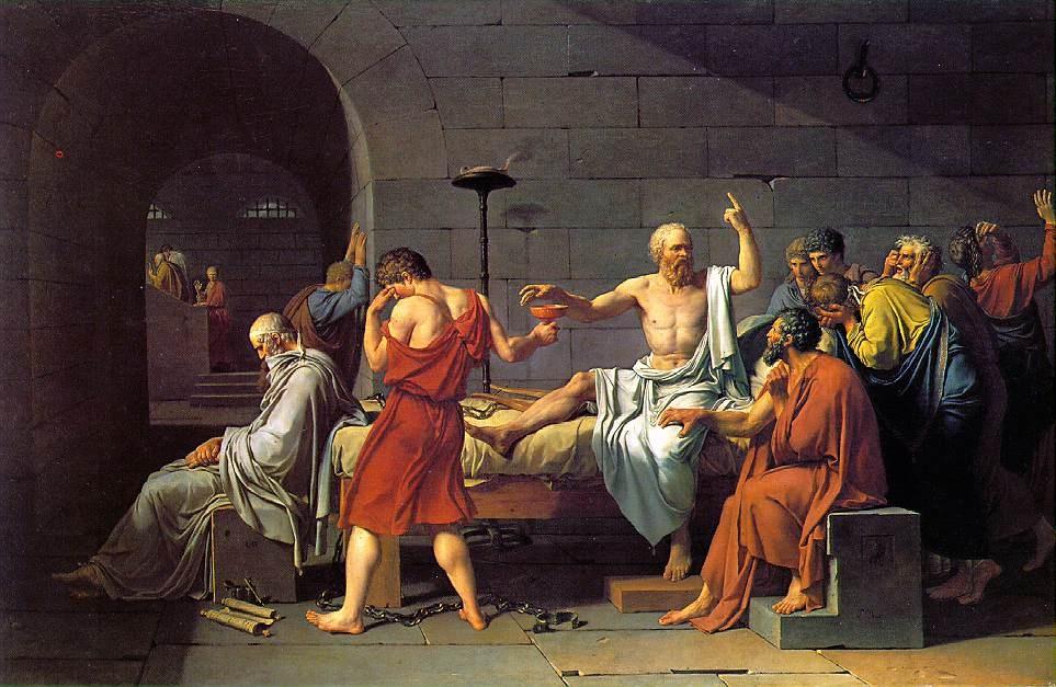 Sokrates'in Ölümü Tablosu<br /> Jacques Louis David<br /> <br /> Fransa'nın önde gelen Neo-Klasik ressamı Jacques Louis David'ti. Onun Sokrates'in Ölümü adlı tablosu ünlü Yunanlı düşünürü hapisanede takipçileri tarafından çevrelenmiş bir halde resmeder. Sokrates baldıran zehirini içmek üzeredir, çünkü inançlarından dolayı haksız bir şekilde ölüme mahkûm edilmiştir. 1787 yılında —yani, Fransız İhtilâli'nin patlak vermesinden iki yıl önce— her Fransız Sokrates'in Ölümü'nün cesaret ve hakikat uğruna kendini feda etme konusunda ahlâkî bir ders olduğunu muhtemelen anlıyordu. <br /> <br /> David'in tablosu onu görenleri sonuçları ne olursa olsun inançları uğrunda dik durmaya cesaretlendiriyordu. David bu konuyu resmederek açık bir şekilde, Hıristiyan kilisesinin hurafelerinden bağımsız olarak insan aklının gerçek ahlâk ve doğru yaşam yolunu göstereceğine inanan Aydınlanma düşünürleriyle aynı safta yer alıyordu. Sokrates gibi erdemli bir pagan, herhangi bir Hıristiyan azize rakip bir şekilde hak ve adalet uğruna şehit olmaya örnek oluşturabilirdi.