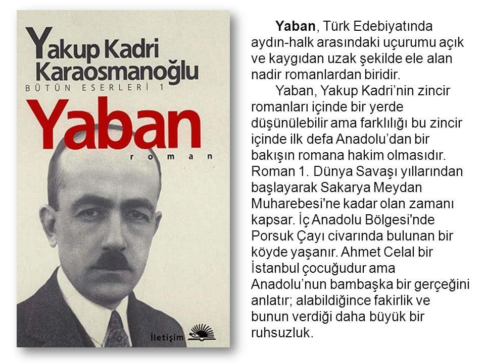 Yakup Kadri Karaosmanoğlu'nun Yaban isimli romanı hakkında edebiyatımızın ilk tezli romanı.