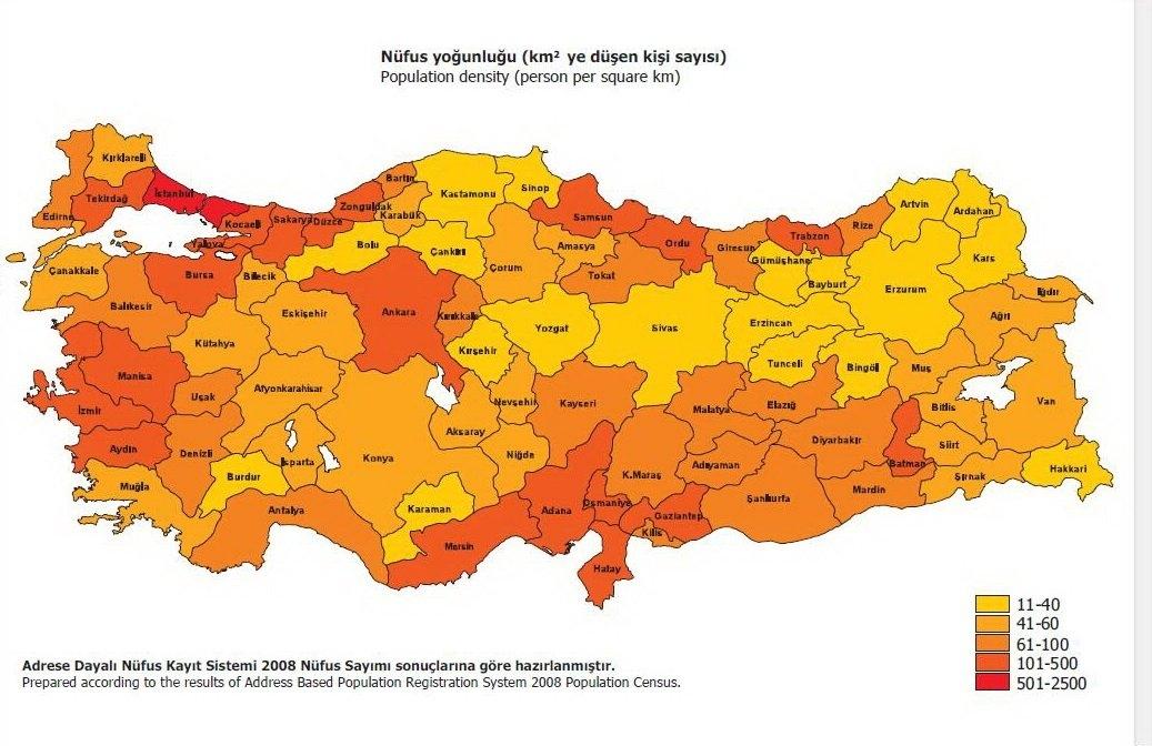 Türkiye Nüfusun Coğrafi Dağılışı Haritası