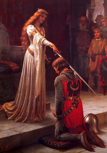 The Accolade (şövalye ilan edilirken) adlı tablo (Edmund Blair Leighton, 1901)