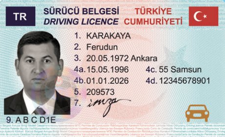 Yeni ehliyetin görünüşü. Örnek ehliyet