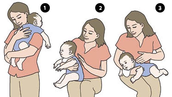 Bebek omuzda: Bebeği yüzü size dönük şekilde kucağınıza alın. Bir eliniz poponun altını desteklerken, diğer elinizle bebeğin sırtına hafifçe vurun ya da hafifçe bastırarak sırtını ovalayın. Bebeğin midesi doluysa kusabileceği için bu yöntemi uygularken omuzunuza ağız bezi ya da bir havlu koymak iyi bir fikirdir. Bebek kucakta: Yüzü dışarıya bakacak şekilde bebeğinizi kucağınıza oturtun. Bir elinizle bebeği koltuk altından kavrarken, diğeri elinizle hafifçe sırtına vurun ya da sırtını ovalayın. Bebek kolda: Bebeği yüzü koyun konumuna getirin. Yüzü yere bakarken başını, boynunu ve göğüsünün üst kısmını bir elinizle destekleyin. Diğer elinizle de hafifçe sırtına vurun ya da sırtını ovalayın.