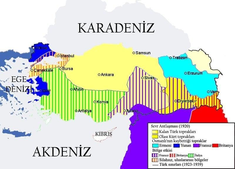 Sevr Antlaşmasının Sonucunda Türkiye Haritası