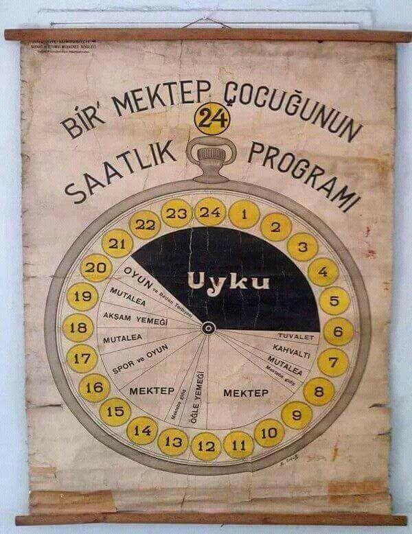 1930 Yılına ait bir öğrencinin günlük programı.
