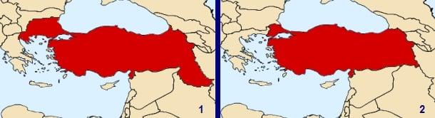 1 - Misak-ı Milli Sınırı 2 - Günümüz Türkiye Sınırı