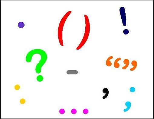 Noktalama işaretleri : Nokta, virgül, iki nokta, ünlem vs..