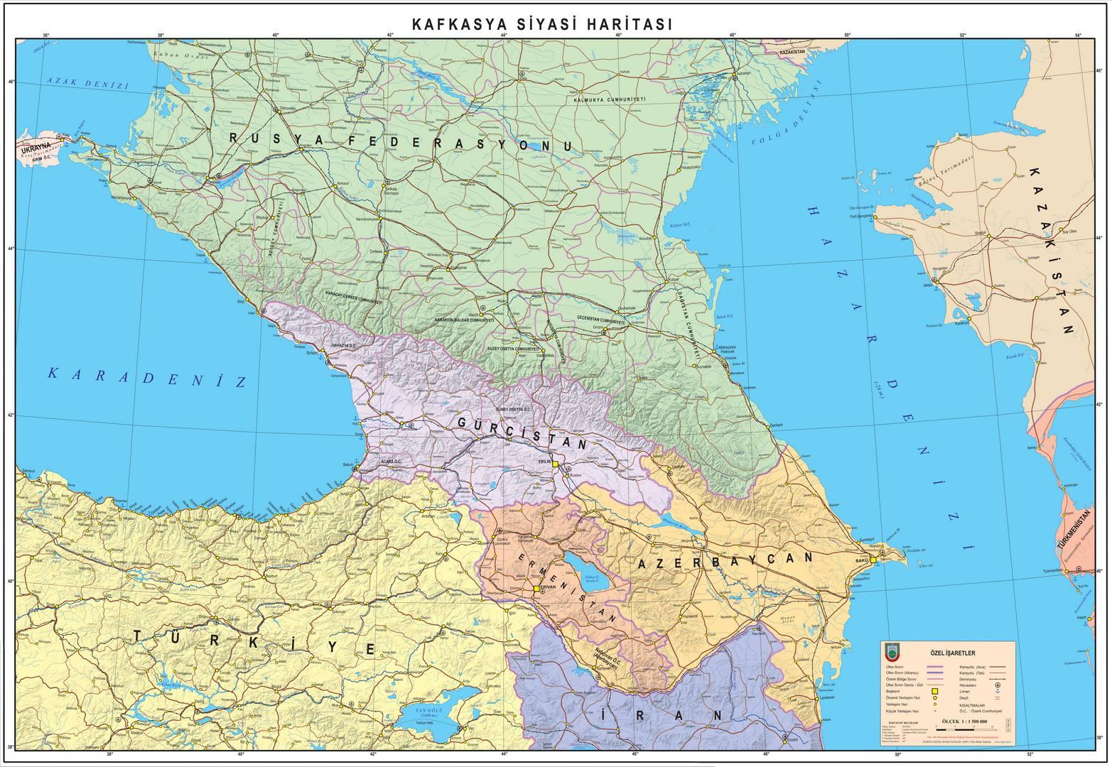 Kafkasya fiziki haritası