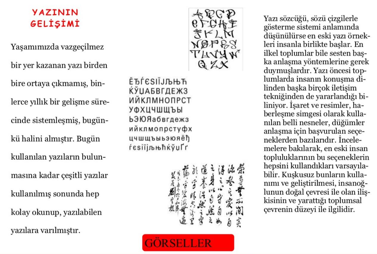 Yazının tarihi gelişimi