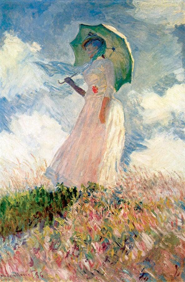 Claude Monet'in şemsiyeli kadın (Woman with a parasol) tablosu.<br /><br /><strong>Eserin Adı:</strong> Şemsiyeli Kadın<br /><strong>Yapım tarihi:</strong> 1875<br /><strong>Tekniği:</strong> Tuval Üzeri Yağlıboya<br /><strong>Bulunduğu Yer:</strong> National Gallery of Art / Washington DC - Amerika