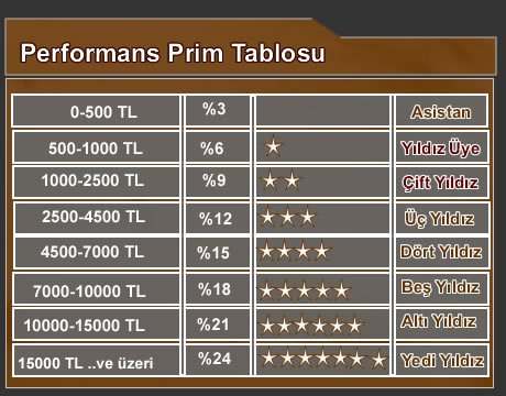 Performans Prim Tablosu