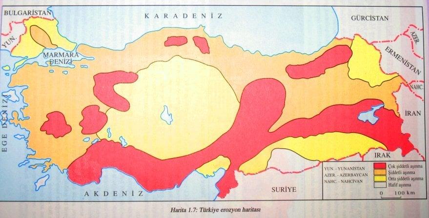 Türkiye erozyon haritası.