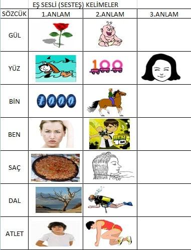 Eş sesli kelime örnekleri