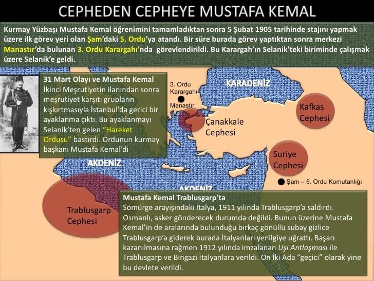 Mustafa Kemal Atatürk'ün Savaştığı Cepheler Haritası Açıklamalı