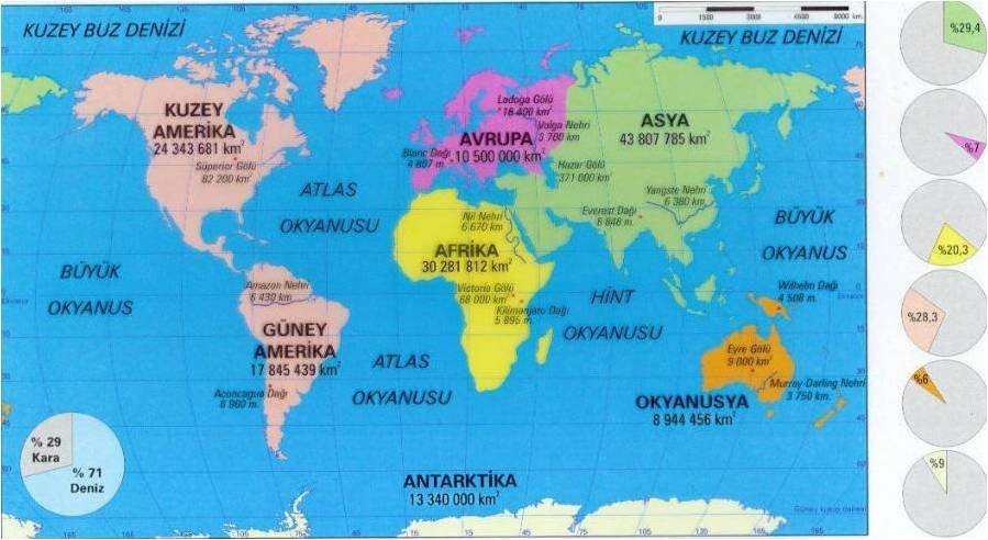 Dünya denizler ve okyanuslar haritası.
