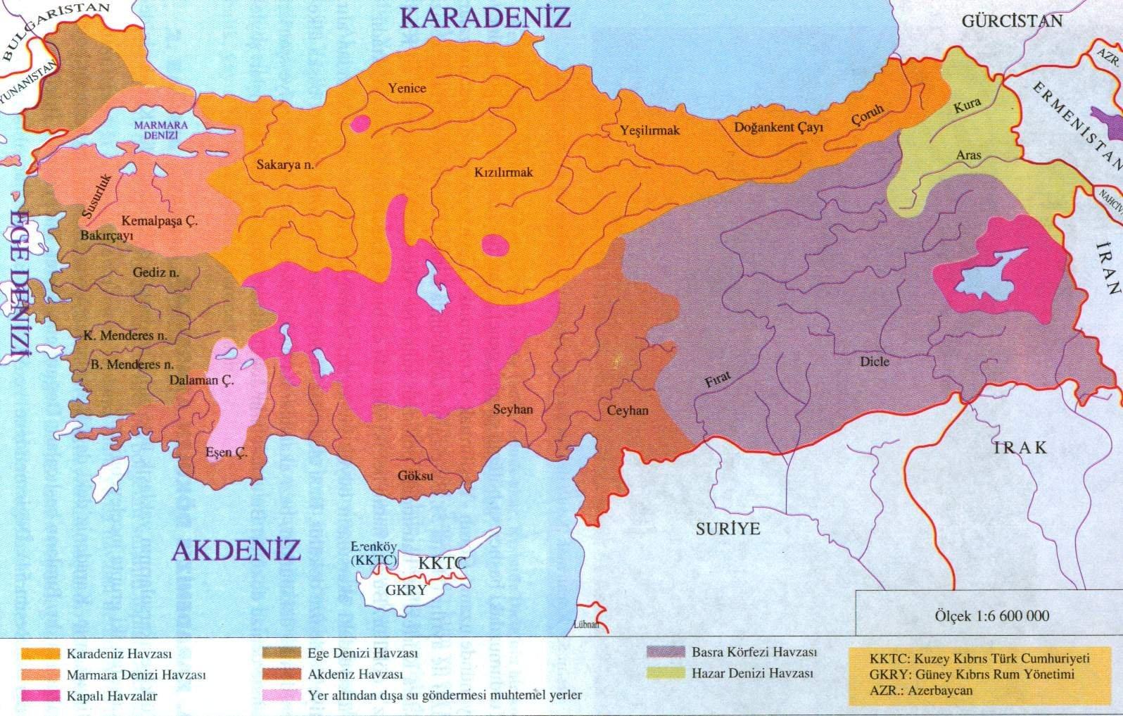 Türkiyenin Akarsu Havzaları Haritası