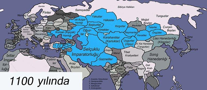 1100 yılında Avrasya ve Gaznelilerin çöküşü.
