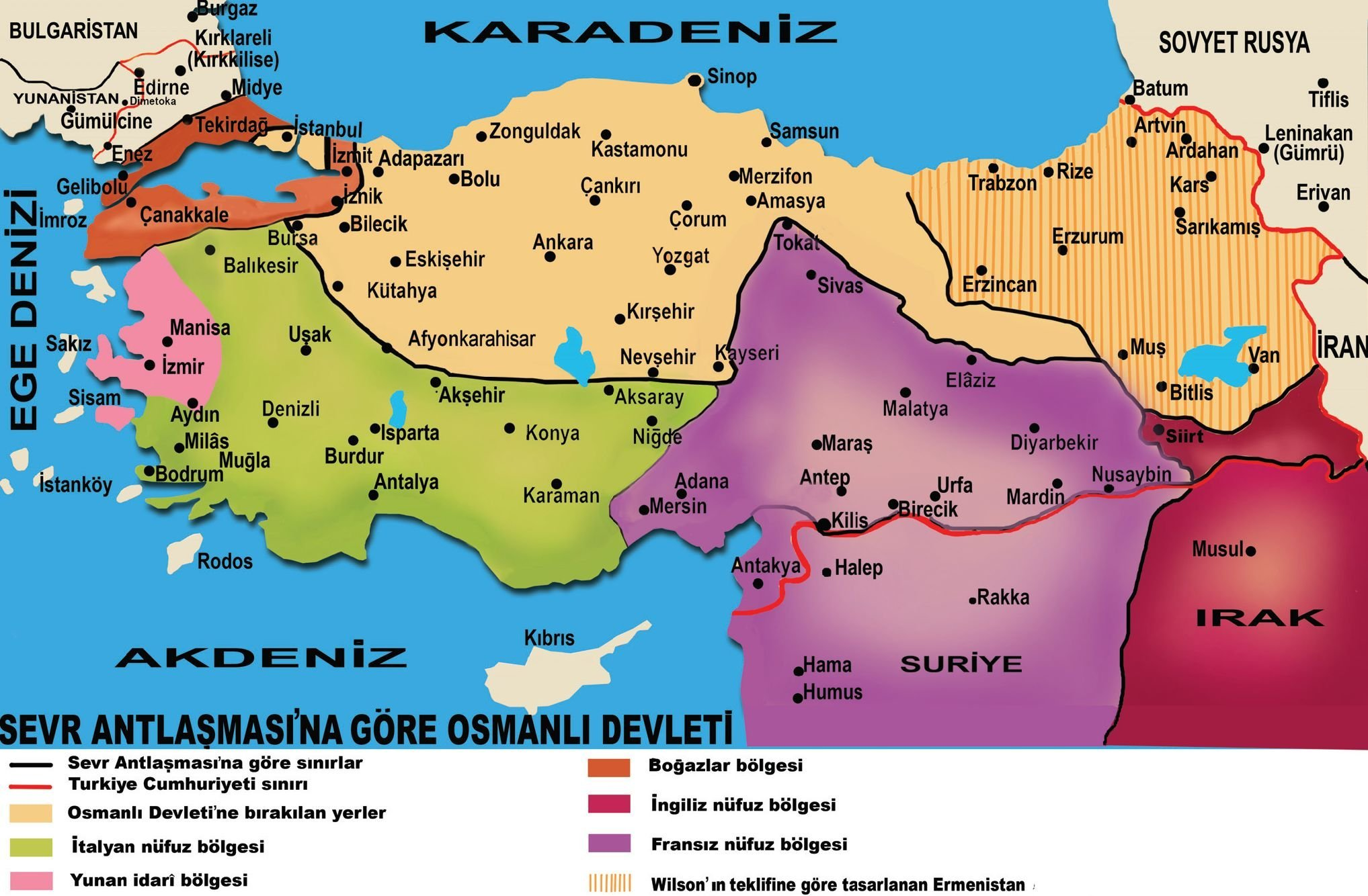 Serv Antlaşmasına göre Türkiye Haritası.
