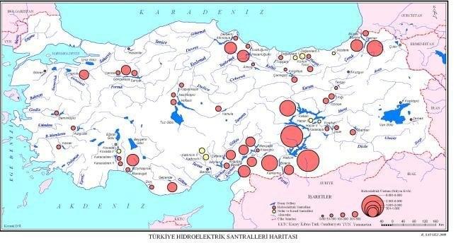 Türkiyede Hidroelektrik santralleri nerede bulunur