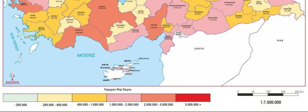 Akdeniz Bölgesi Nüfus Haritası