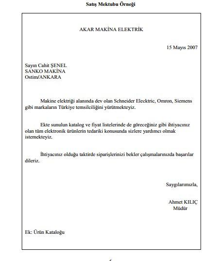 Satış Mektubu