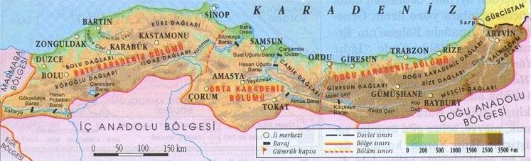 Karadeniz Bölgesinin Coğrafi Konumu