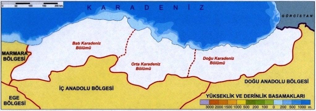 Karadeniz Bölgesinin Bölümleri
