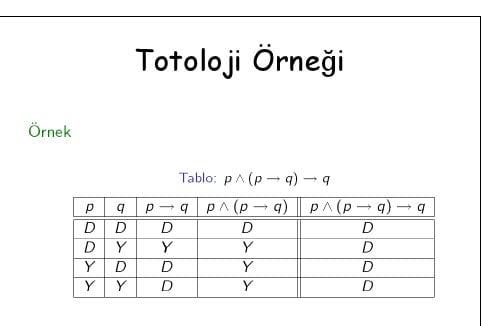 Totoloji Örneği